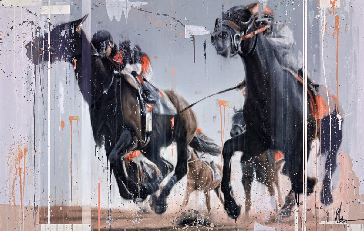 The Racehorses II by kris hardy -  sized 44x28 inches. Available from Whitewall Galleries